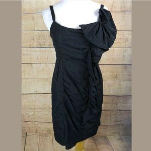 EUC Nanette Lepore little black dress w ruffle bow